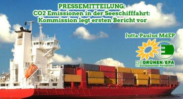 Pressemitteilung CO2 Emissionen in der Seeschifffahrt. Bild von einem Containerschiff.