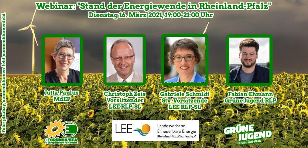 """Das Titelbild für das Webinar """"Stand der Energiewende in Rheinland-Pfalz zeigt die Referent*innen Jutta Paulus, Christoph Zeis, Gabriele Schmidt und Fabian Ehmann vor einer Sonnenblumenwiese. Im Hintergrund sind Windräder zu sehen."""